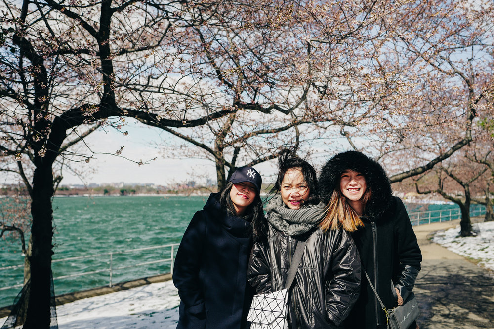 All smiles with the frozen cherry blossoms!