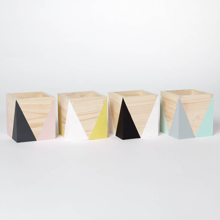 Geometric wooden pen pot  - £15