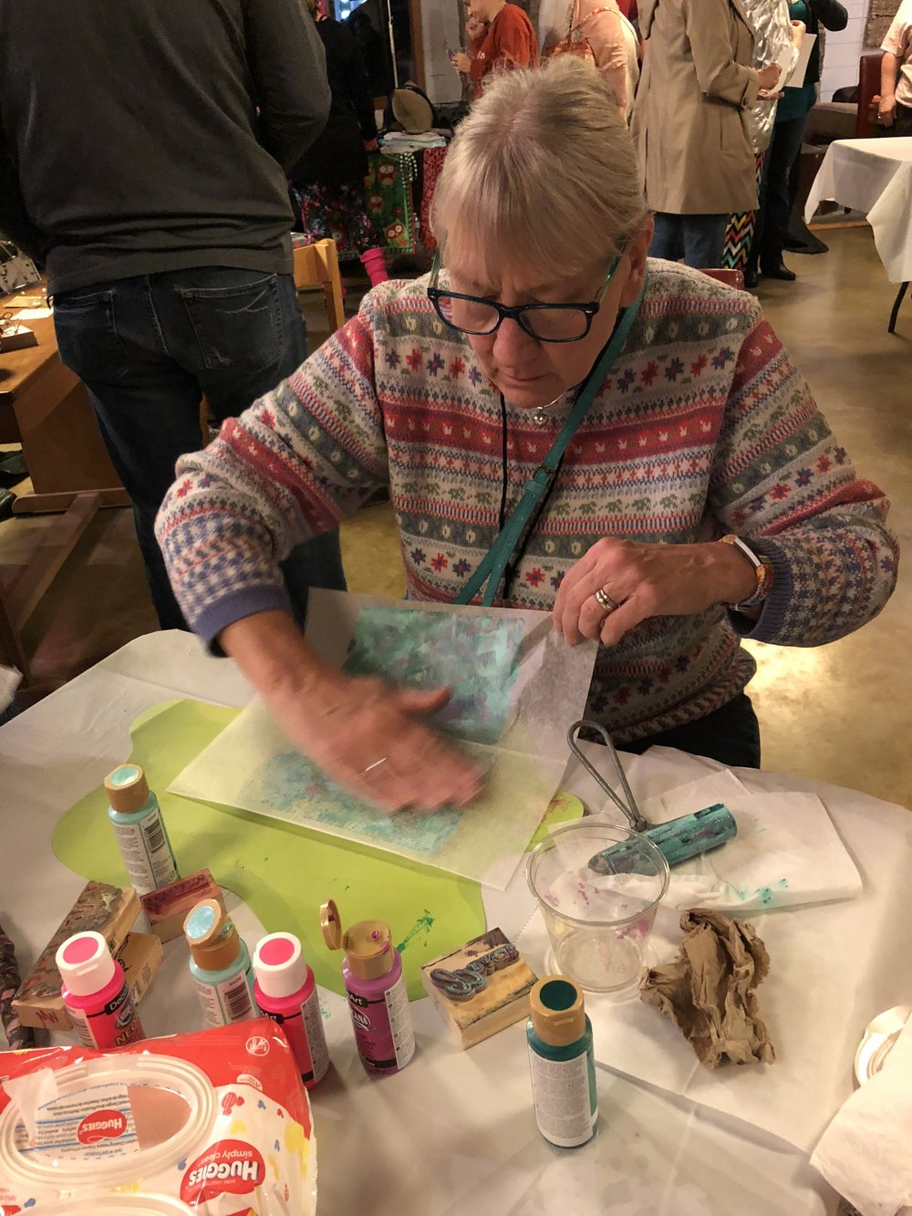 Friday Night 80's Party_Cheri Jorgenson at Gelli Plate Demo.JPG