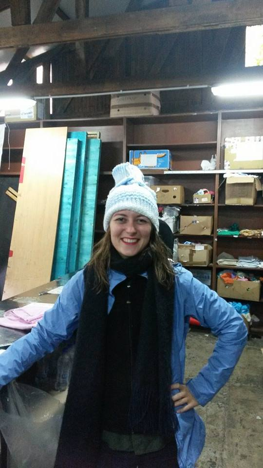 Wearing one of the baby sweaters I turned into a hat in the refugee centre (Belgrade)