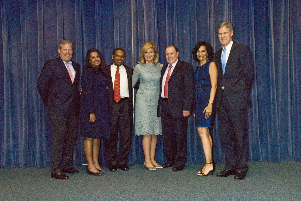 Colonial Board members and Executive (left to right) David Gibbons Jr, Naz Farrow, Jon Brunson, Alan Peacock, Cheryl Packwood and Grant Gibbons with Ms. Huffington (center)