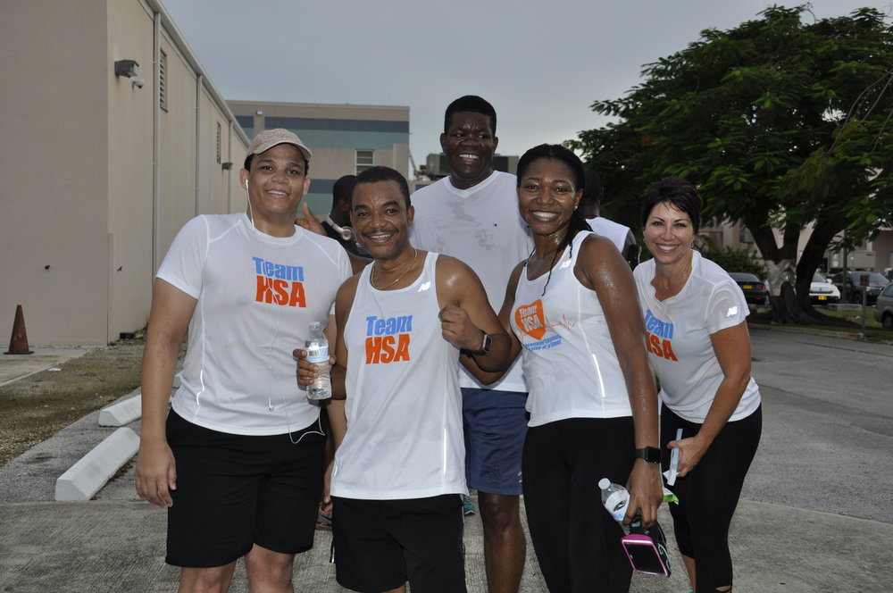 Some runners at the Cayman Islands Hospital Fun Walk / Run to launch our wellness campaign (with the CEO, Lizzette Yearwood far right).