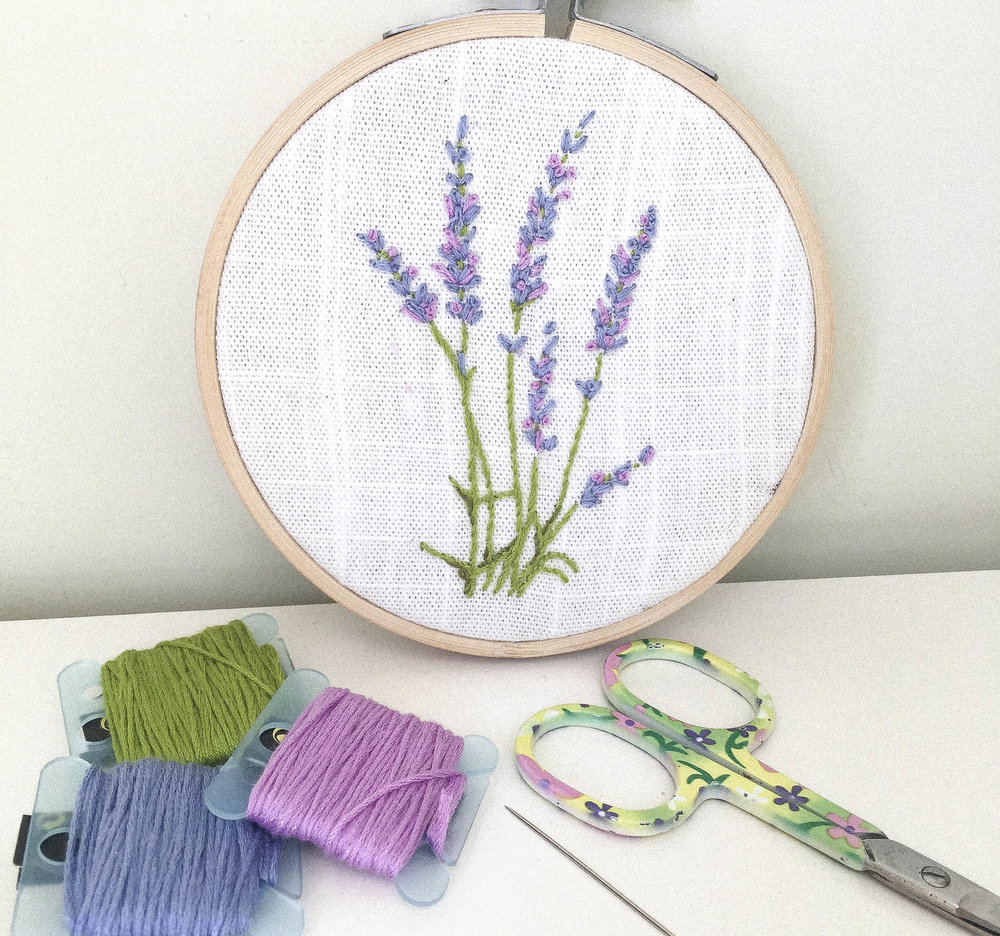 Hand EMBROIDERED lavender