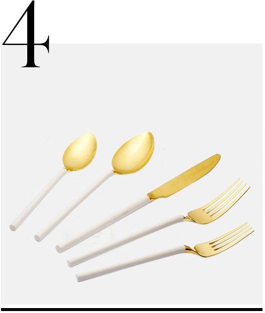 Gold-Dipped-Flatware-One-Kings-Lane-home-improvement-ideas-white-and-gold-home-decor-accessories