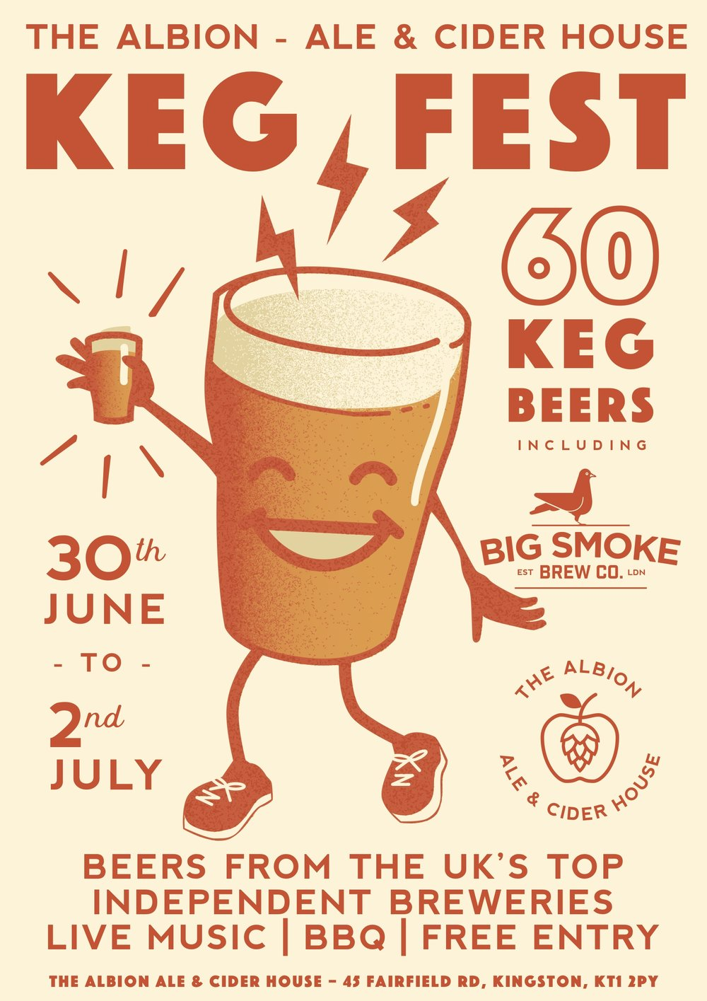 KEG FEST! Come see us from the 30th of June to the 2nd of July. We'll have a massive 60 keg beers from the best independent breweries from the UK and beyond.  Cloudwater / Verdant / Deya / Magic Rock / Brewski / Tilquin / Founders / Sierra Nevada / Tiny Rebel / Howling Hops / Weird Beard / Gypsy Hill / Wylam / Northern Monk / Brew By Numbers / Kernel / Siren / Wild Beer Co / Marble / Big Smoke And loads more!  BBQ / Hog Roast / DJs / Good times  See you here!