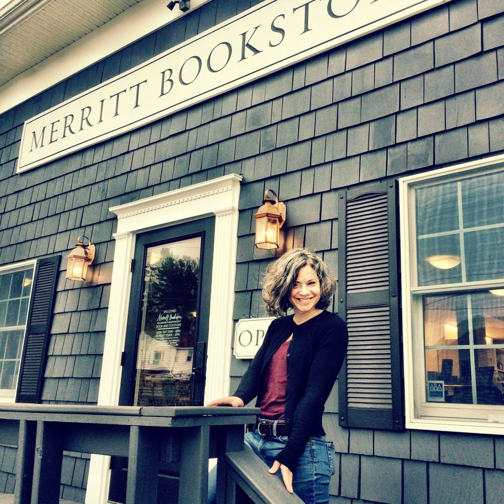 Roz in front of Merritt Bookstore, Millbrook, NY
