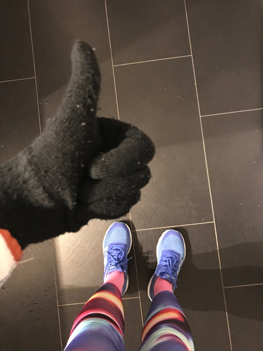 First run this autumn I've had to wear mittens, the rain was coming down pretty hard outside! (Disregard how dirty our hallway floor is btw)