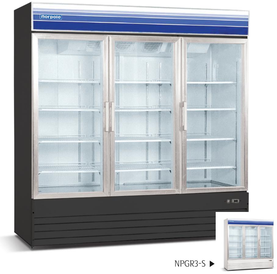 3 Glass Door Swing Refrigerator Black Or White 53 Cu Ft St