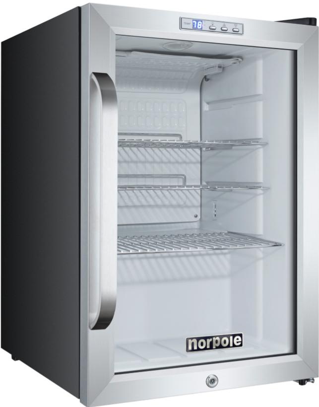 1 Glass Door Swing Countertop Refrigerator In Black 2.5 Cu Ft