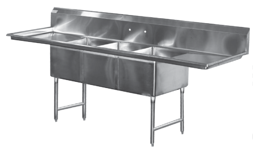 Stainless Steel Triple Sink With Dual Drain Boards