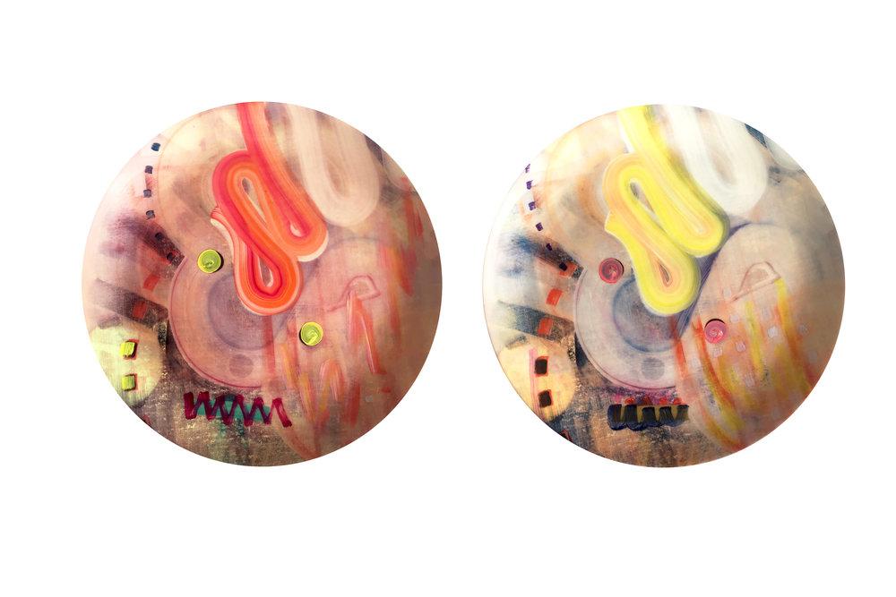 Oil paint and digital print on porcelain, 24cm diameter, 2017