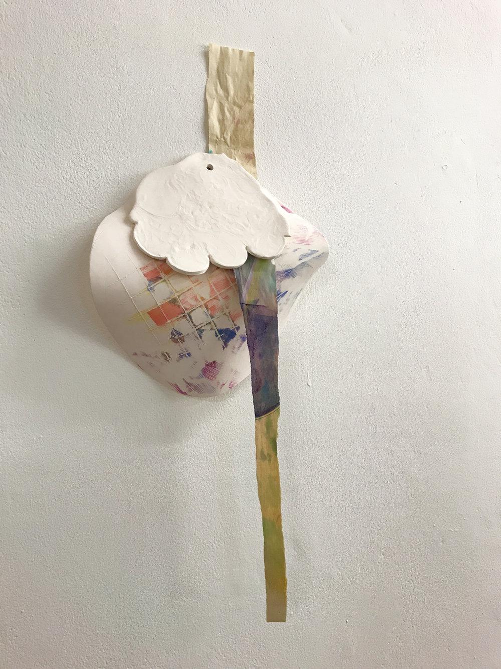 Paper, watercolour, oil paint, unglazed porcelain, 2018