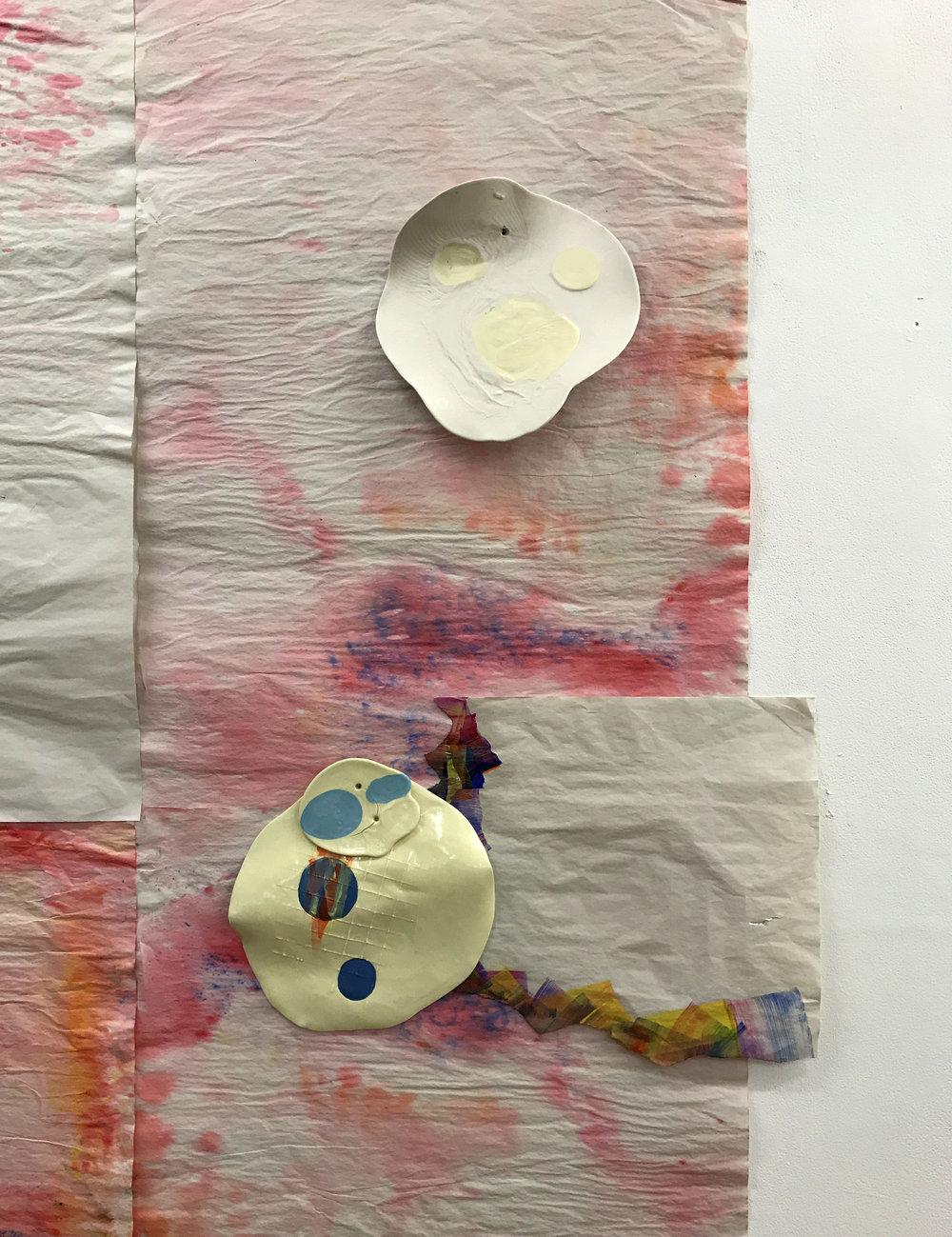 Paper, watercolour, oil paint, unglazed and glazed porcelain, 2018