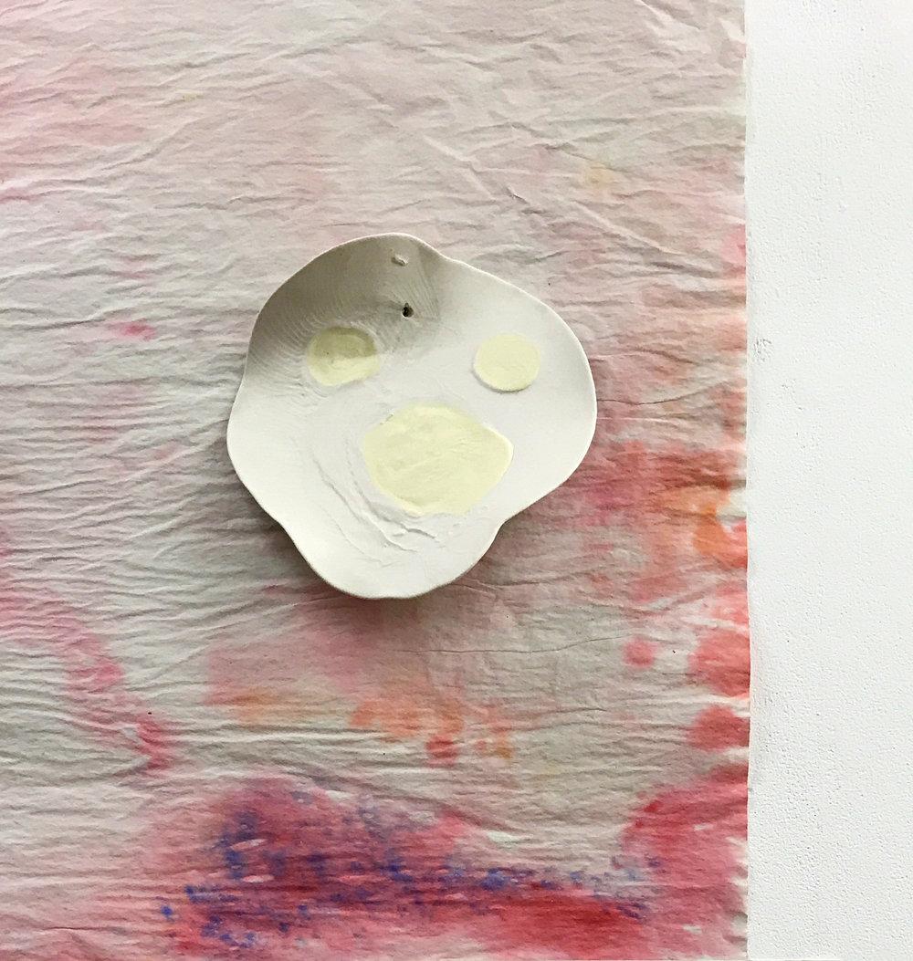 Paper, watercolour, unglazed porcelain, 2018
