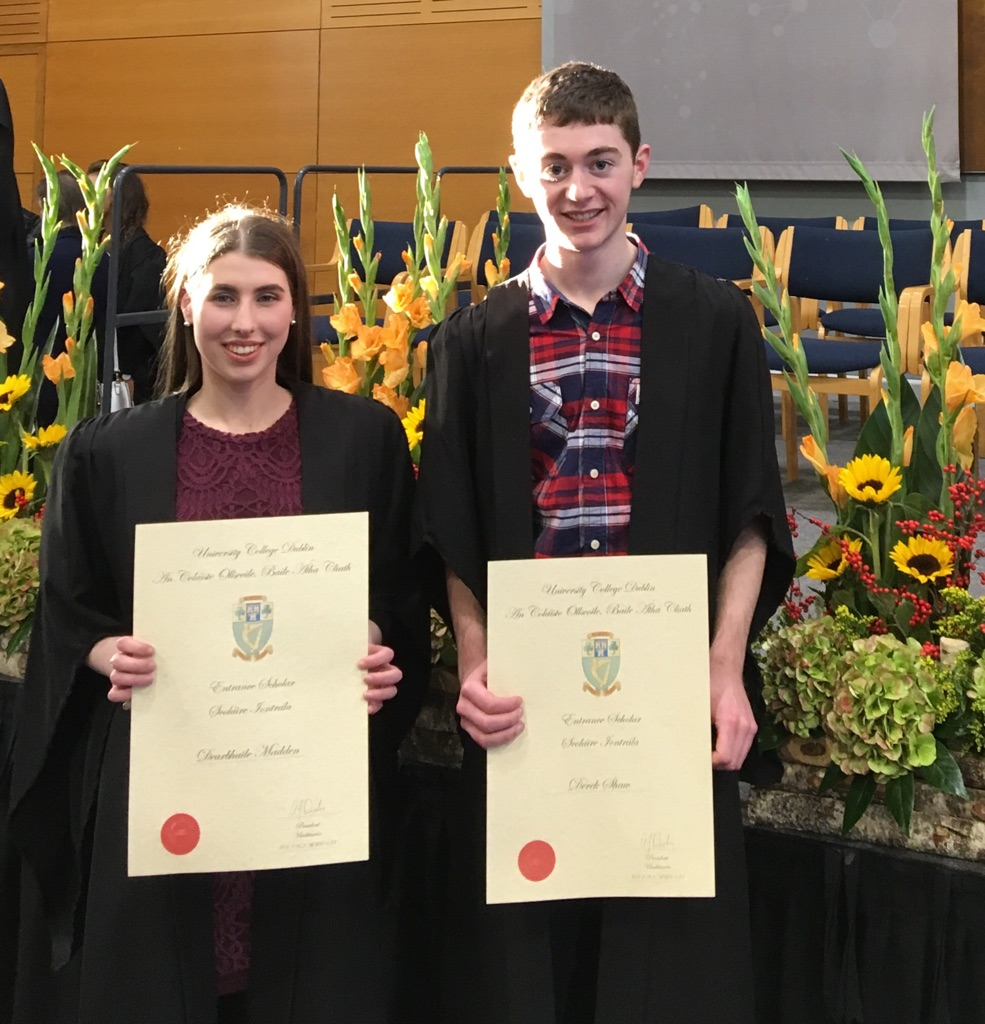 Dearbhaile Madden and Derek Shaw who received Entrance Scholars Awards from UCD