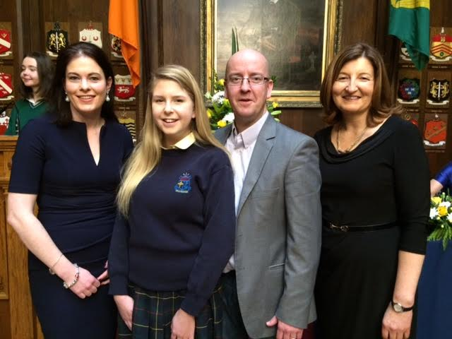 "Ms. Ruth Gaffney, Emily Farrell, Michael Farrell (father), Ms. Josephine Donohue (Principal) at the All Ireland final of the Soroptimists Public Speaking competition on Saturday March 5th in the Mansion House Dublin. Emily was one of eight National finalists and she spoke on the topic of ""Empowering Women""."