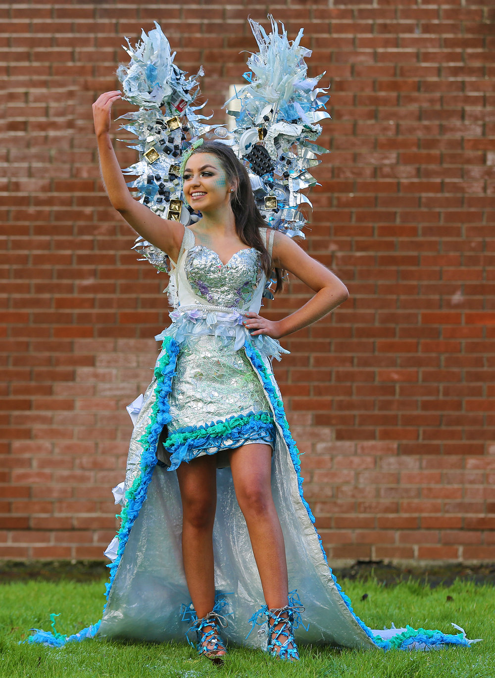 Recycled Fashion Design Junk Kouture Mercy Ballymahon Entry 2018 Ty Students Dearbháil Rooney Bláthnaid McDonagh