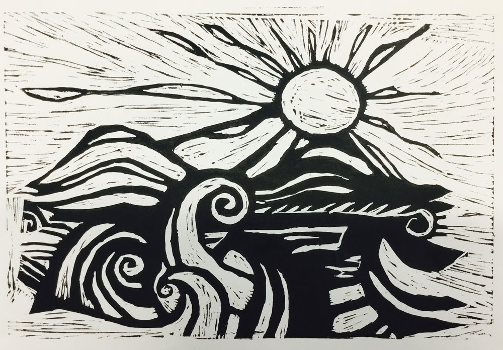 Bronwyn Lacy 3rd year art student for her beautiful Lino Print of The Sea. Bronwyn creates great mark-making techniques here in her excellent precise skills in Lino cutting.