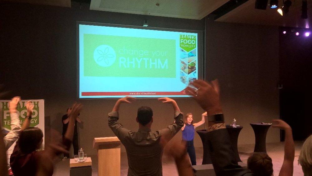 Health, food & Technology - 30 mei 2018- Met onze dansante energizer kregen wij ook deze zaal aan het dansen. Én de energie, het plezier en de saamhorigheid was meer dan voelbaar!