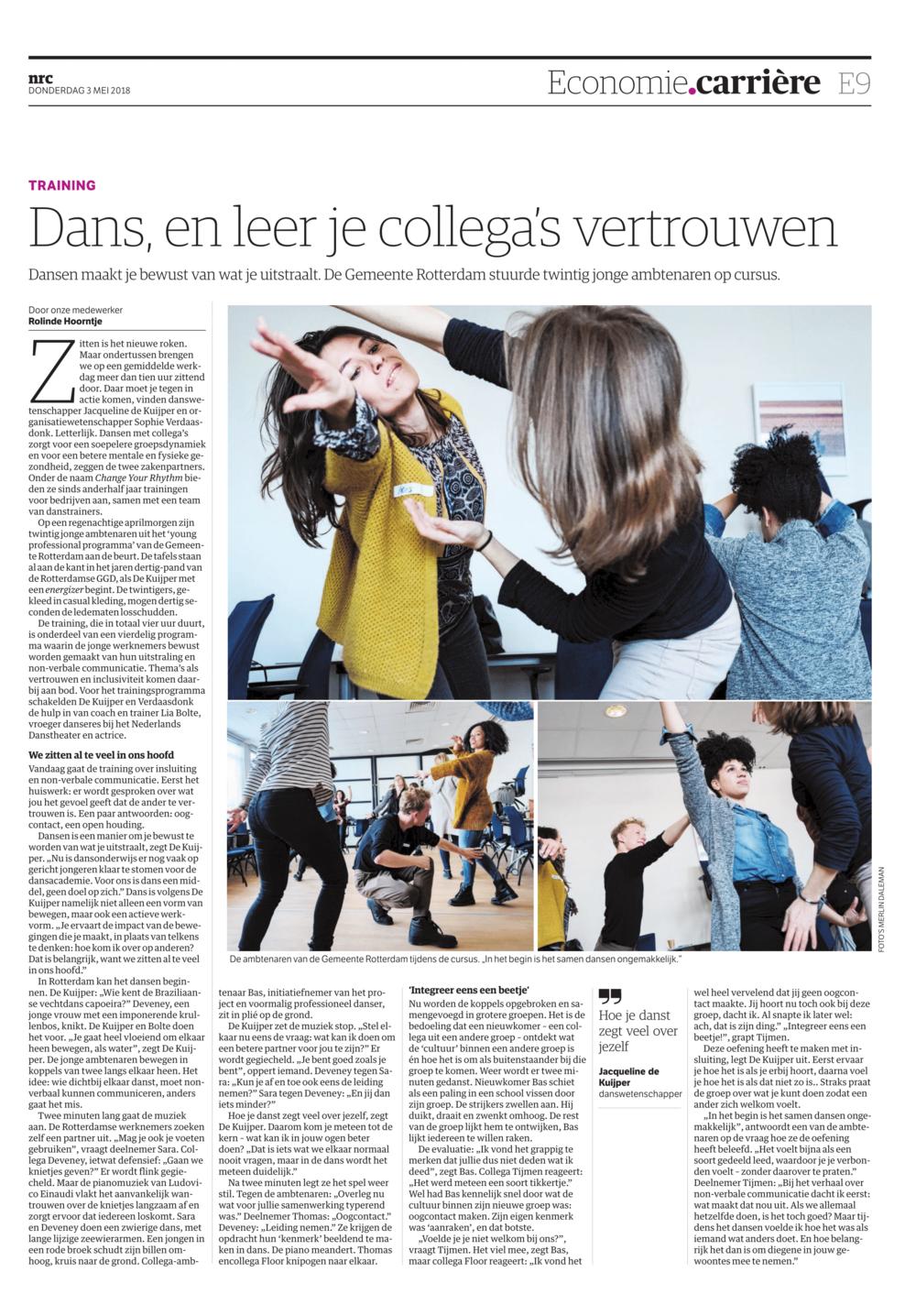 Bekend uit het NRC! - Het NRC schreef onze Inspiratie training bij de Gemeente Rotterdam.