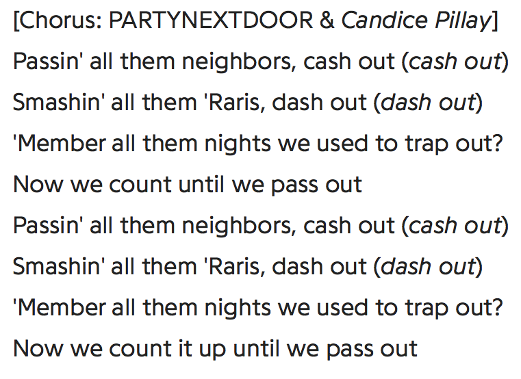 "- PND on ""Cash Out"""