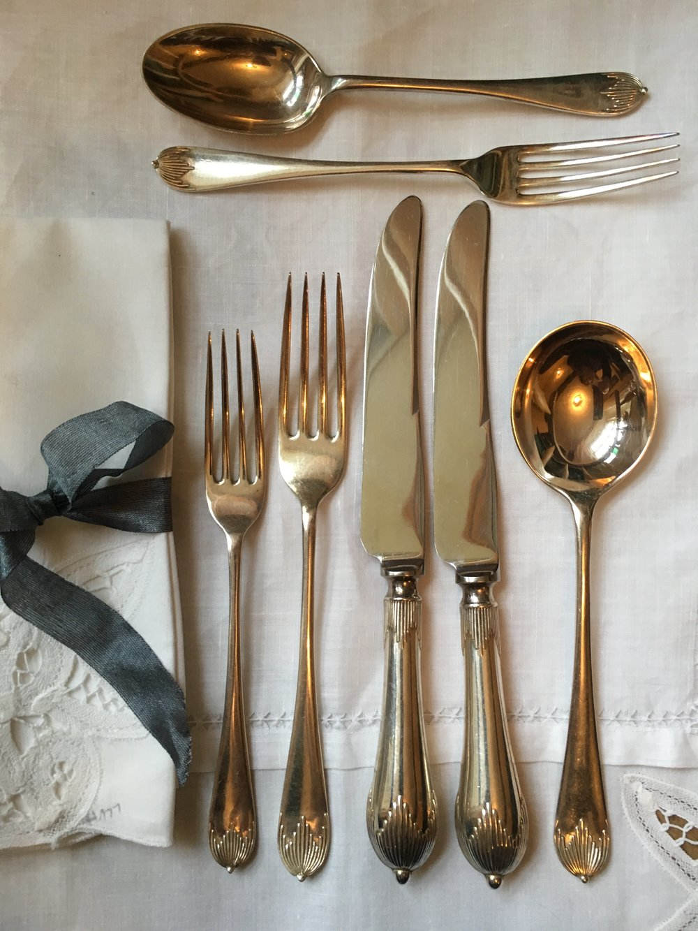 Silver plated, Georgian style place setting.