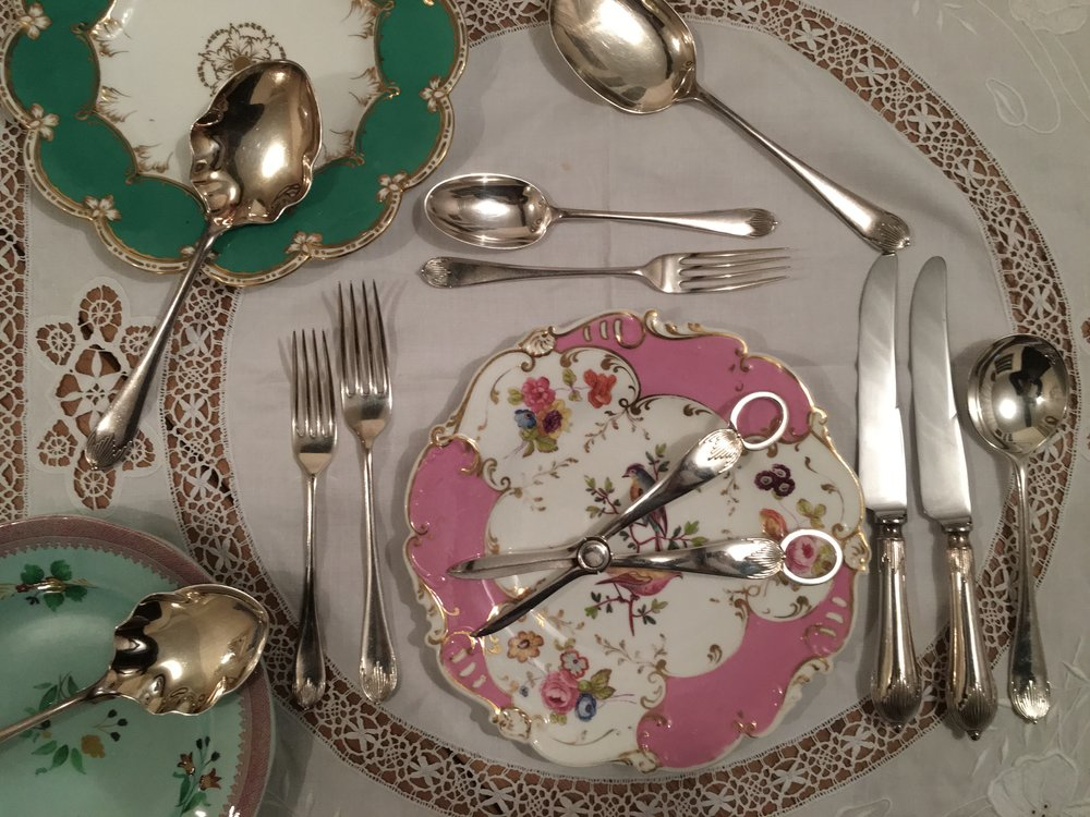 Vintage china and cutlery