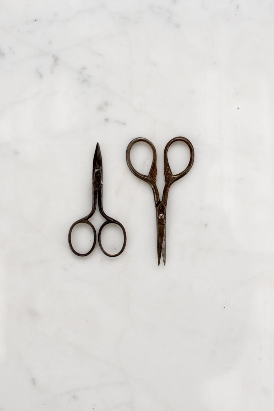le piccole forbici di sinistra semplici e invecchiate dal tempo appartenevano a mia nonna.