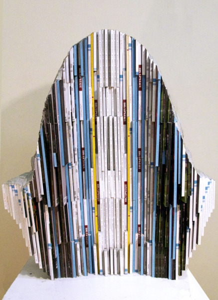 "Long-Bin Chen, ""Renaissance Man I (DaVinci)"" (back view), 2012, Magazines, 30 x 21 x 10 inches"