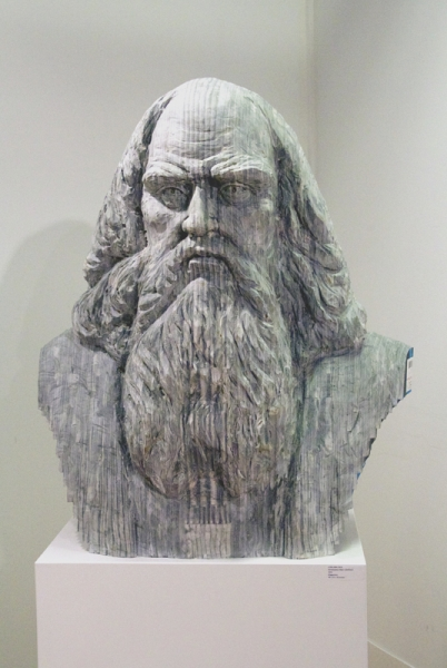 "Long-Bin Chen, ""Renaissance Man I (DaVinci)"" (front view), 2012, Magazines, 30 x 21 x 10 inches"