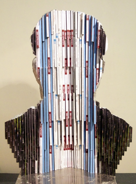 "Long-Bin Chen, ""Renaissance Man II (Michelangelo)""(back view), 2012, carved magazines, 30 x 22 x 12 inches"