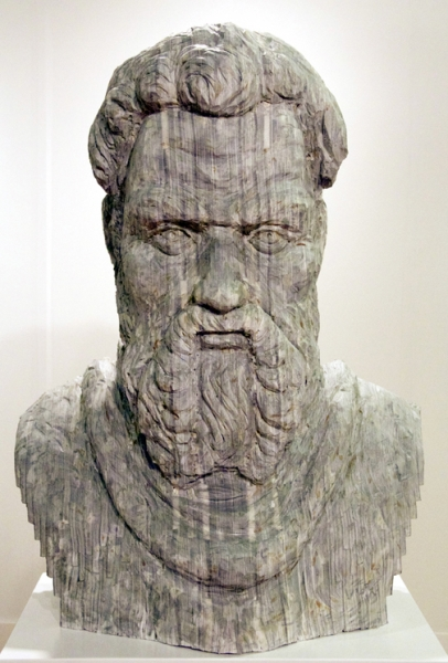 "Long-Bin Chen, ""Renaissance Man II (Michelangelo)""(front view), 2012, carved magazines, 30 x 22 x 12 inches"
