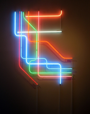 "Antenna Design, ""Warriors"", 2006, Neon light, 48"" x 60"" x 2"", Edition of 3"