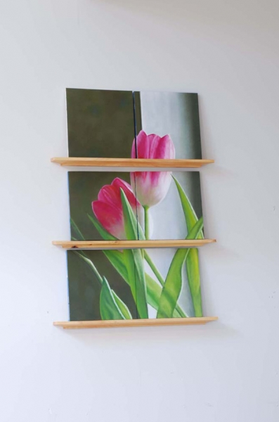 "Broughel, ""Broken Tulips (pink)"", 2008, oil on wood and wood shelves, 37 x 26 x 3.5 inches"