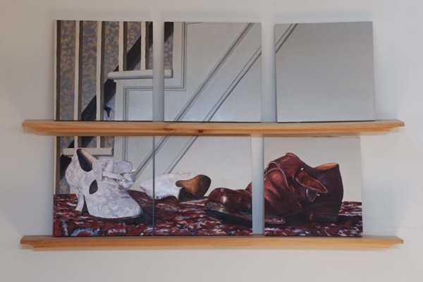 "Broughel, ""Broken Shoes"", 2007-8, oil on wood, 2 wood shelves, 30 x 41 inches"