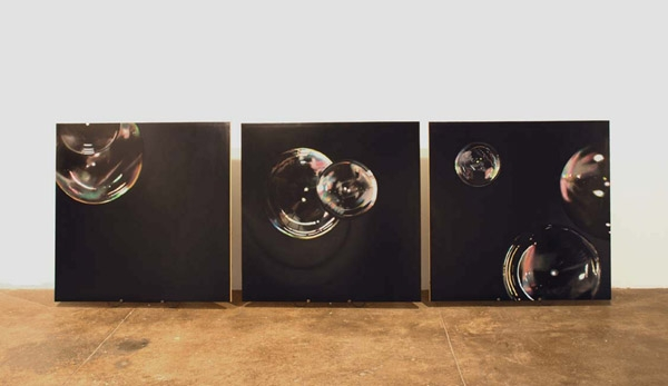 "Broughel, ""Broken Bubbles (Spectrum Study)"", Triptych, 2008, oil on wood, 44 x 140 inches"