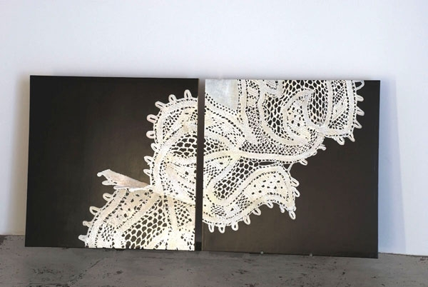 "Broughel, ""Broken Lace #3"", 2008, oil on wood, 36 x 80 inches"