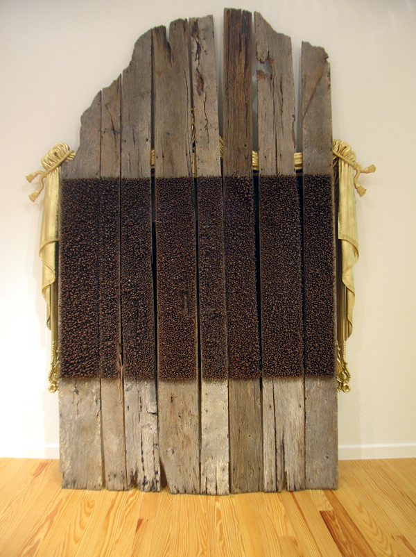 "Mel Chin, ""SAFE"", 2005-6, wood, nails, paint, canvas, 144 x 84 x 18 inches"