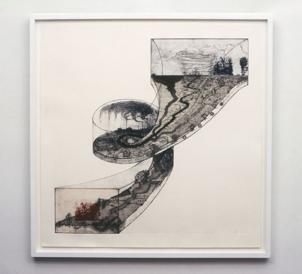 "Mel Chin, ""Revival Ramp"", 1996, Etching, aquatint, softground, engraving, photo-etching, lithography, 36 x 36 inches, Ed of 20i"