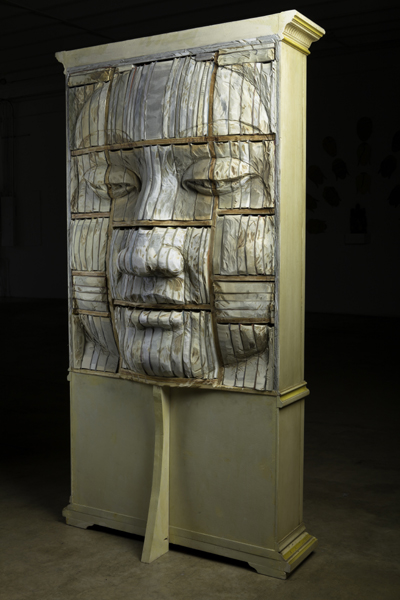 "Long-Bin Chen, ""Bookface Mercy"", 2011, wood, books, 82 x 42 x 20 inches"