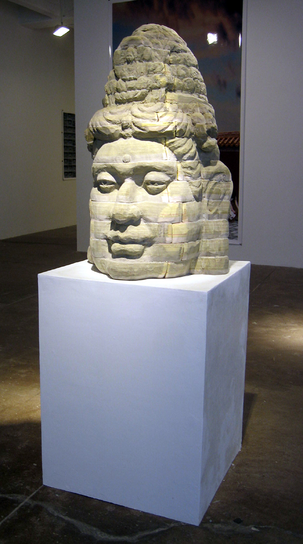 "Long-Bin Chen, ""Giant Buddha"", 2009, NYC Phone books, 36 x 24 x 24 inches"