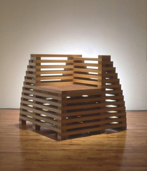 Jackie Ferrara, Corner Chair, 1998, Cedar, 33 x 33 x 36 inches
