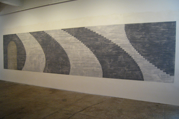 "Jackie Ferrara, ""Black and Gray Curves"", 2007, Plaster, pastel, pencil 70"" x 26"