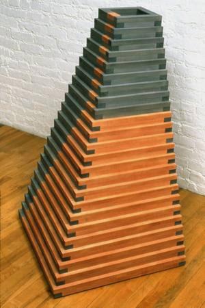 Jackie Ferrara, Red & Black Pyramid, 1991, Poplar, 43 x 26 x 26