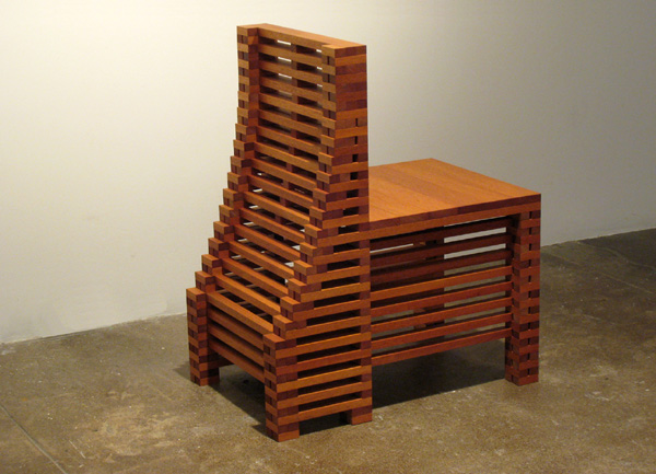 Jackie Ferrara, Slope Back Chair, 2007, Wood, 33 x 18 x 27.25 inches, Edition of 1/3