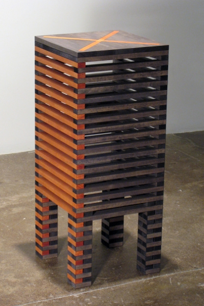 Jackie Ferrara, Red X Table, 2007, Wood, 36.25 x 15 x 15 inches, Edition 1/3