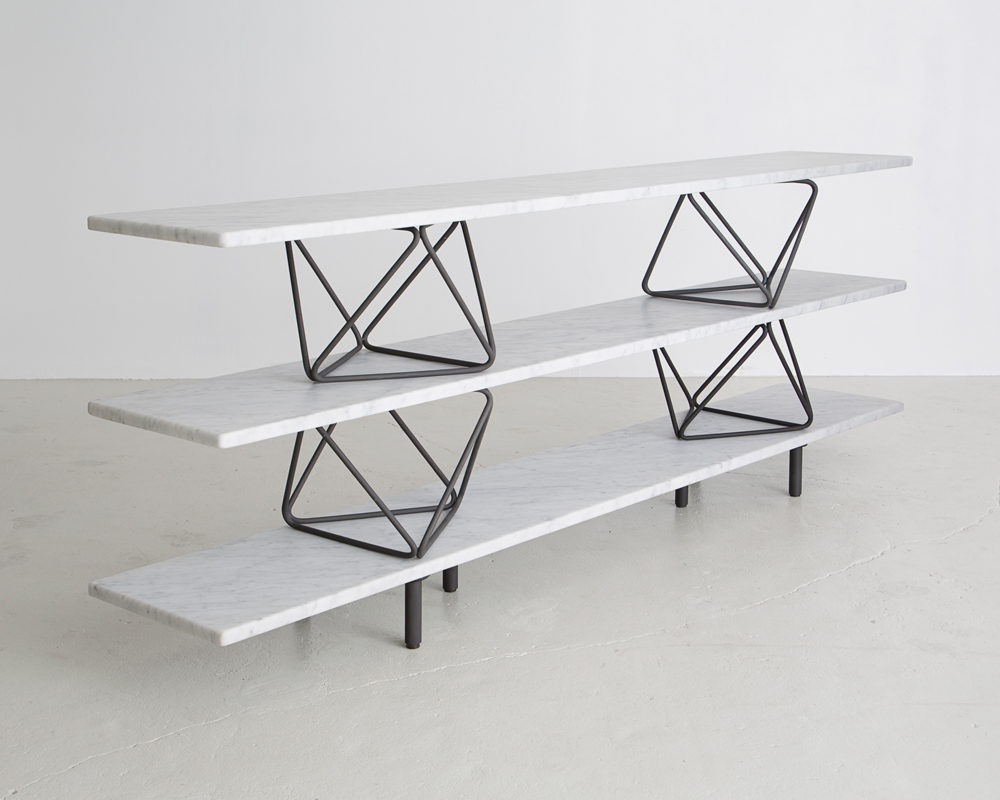 "Christian Wassmann, ""Octahedron"" shelves, continuous slab of Carrara marble on bases of bent phosphorized carbon steel rods, 16x96"" and height of 22"", 37"" or 52"", Unlimited Edition"