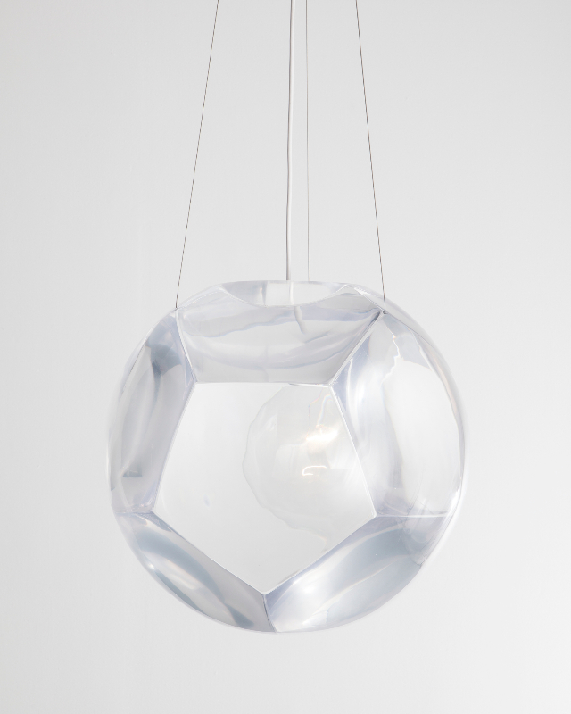"Christian Wassmann, ""Dodecahedron"" chandelier and optical instrument with eleven clear lenses, poured polyurethane resin"