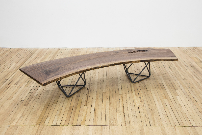 "Christian Wassmann ""Octahedron"" bench / coffee table, solid walnut slab and bent phosphorized carbon steel rod frame, 80"" L x 24"" W x 15.5"" H"