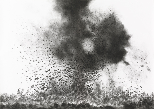 "Raquel Maulwurf, ""Arnhem '44"", 2008, Charcoal/pastel on paper, 59 x 83.5 inches"